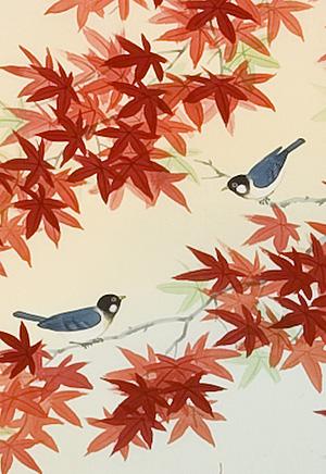 紅葉に小鳥 鈴木秀湖(直筆)