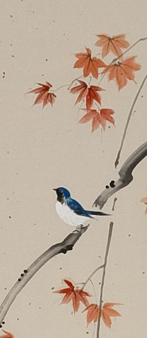 紅葉に鳥 尾上晩翠(直筆)